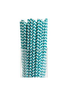 Turquoise Chevron Paper Straws
