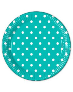 Turquoise Dots Lunch Plate