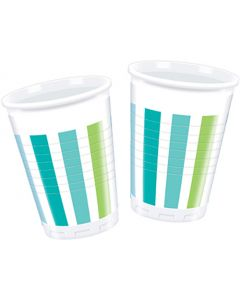 Turquoise Striped Plastic Cup