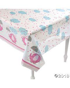 Umbrellaphants Pink Paper Tablecloth