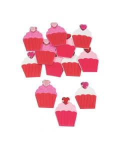 Valentine Glitter Cupcake Foam Shapes