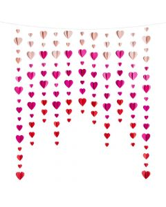 Valentine Hanging Hearts Curtain Backdrop