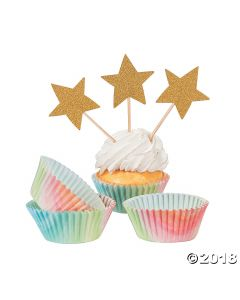 Watercolor Rainbow Cupcake Liners with Picks