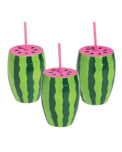 Watermelon Cups with Straws