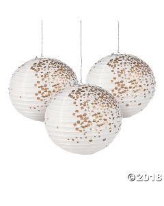 White & Gold Patterned Hanging Paper Lanterns