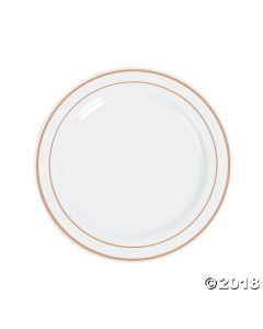 White Premium Plastic Lunch Plates with Rose Gold Edging