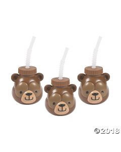 Woodland Party Molded Cups with Straws