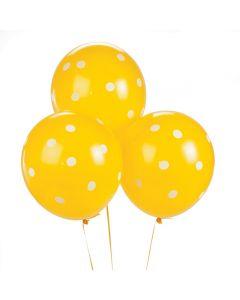 "Yellow Polka Dot 11"" Latex Balloons"