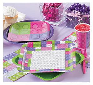 Pastel Colour Brick Party Supplies